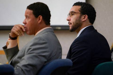 Sitting in Superior Court in Vista, Kellen Winslow, Jr., right, sits next to defense attorney, ...