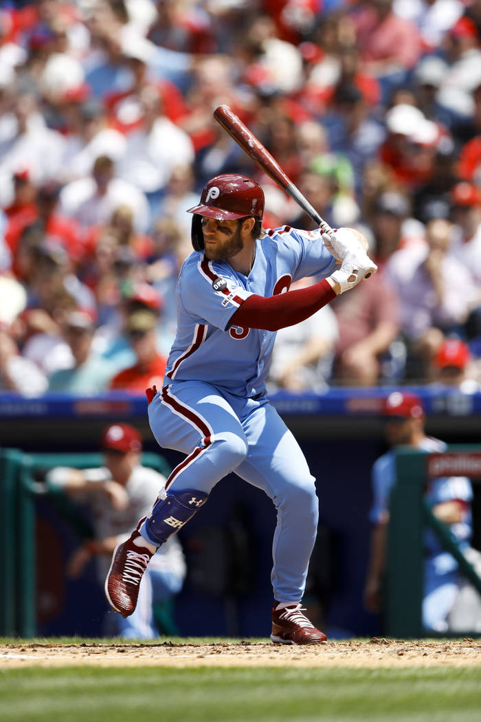 Philadelphia Phillies' Bryce Harper in action during a baseball game against the Milwaukee Brew ...