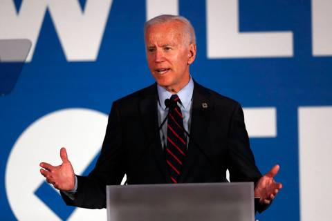 Democratic presidential candidate former Vice President Joe Biden speaks during the I Will Vote ...