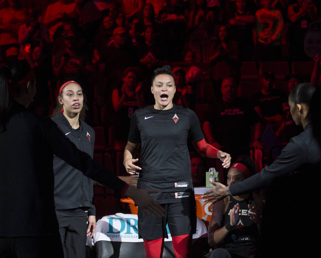 Las Vegas Aces guard Kayla McBride (21) is announced before the start of Vegas' home game with ...