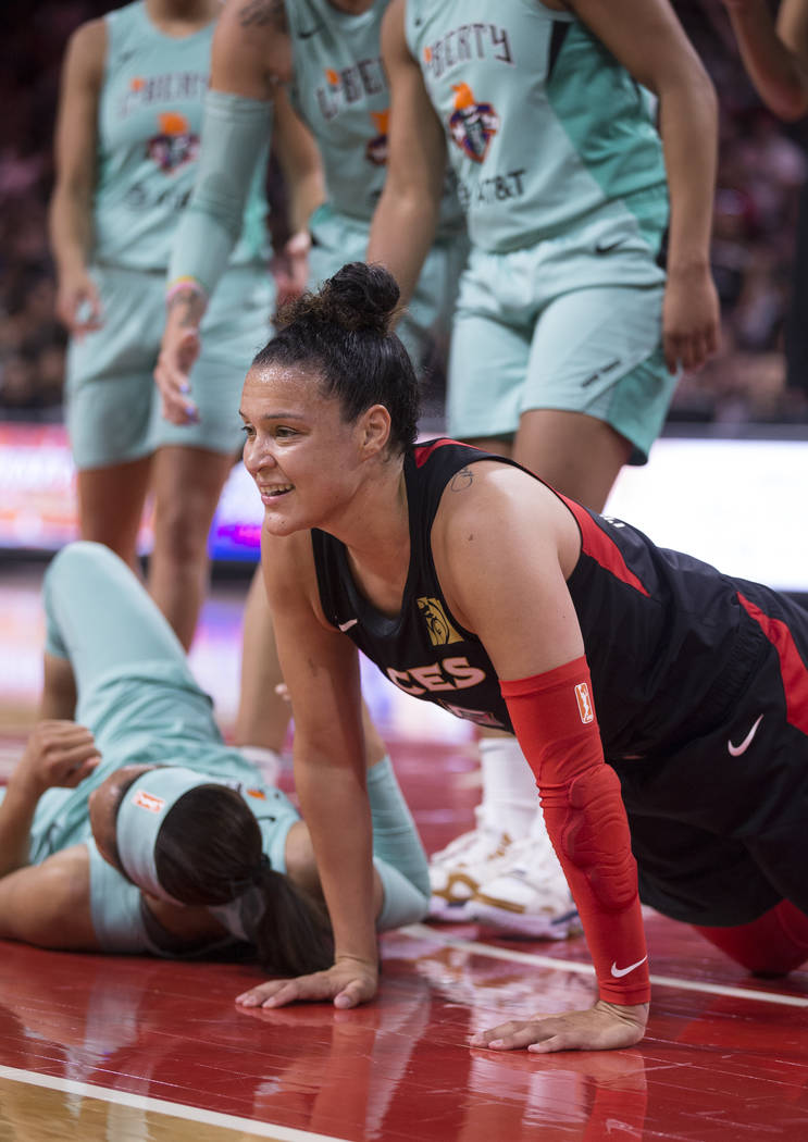 Las Vegas Aces guard Kayla McBride (21) smiles after scoring and being fouled in the second qua ...