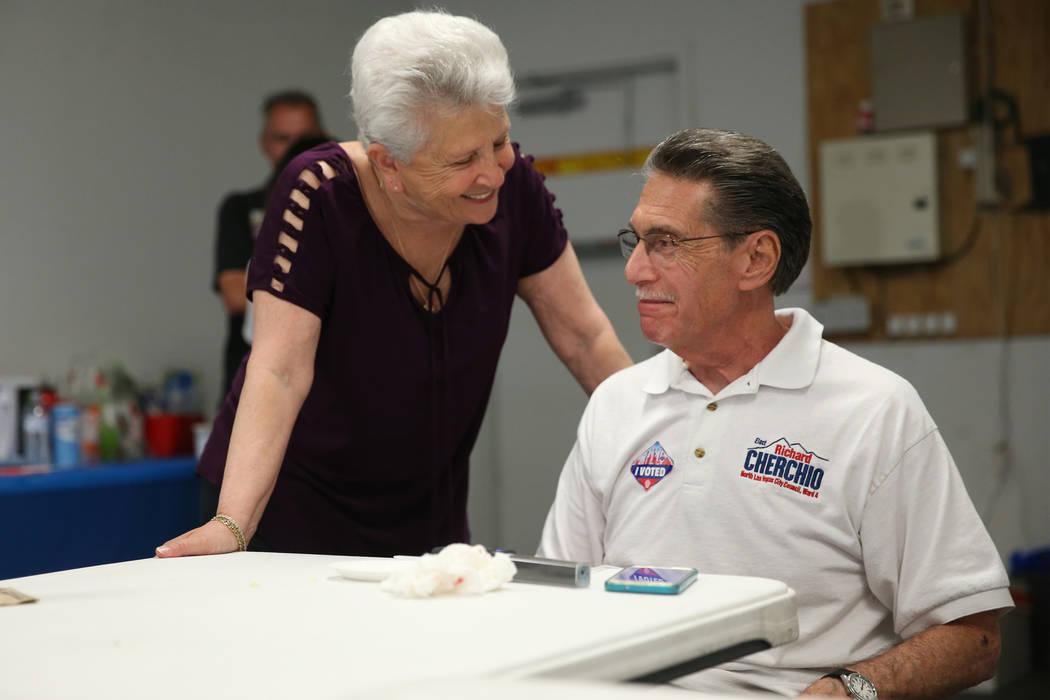 North Las Vegas Ward 4 incumbent councilman Richard Cherchio, right, with his wife Gloria, duri ...