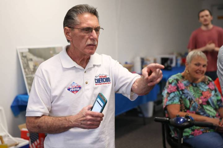 North Las Vegas Ward 4 incumbent councilman Richard Cherchio looks at election results during h ...