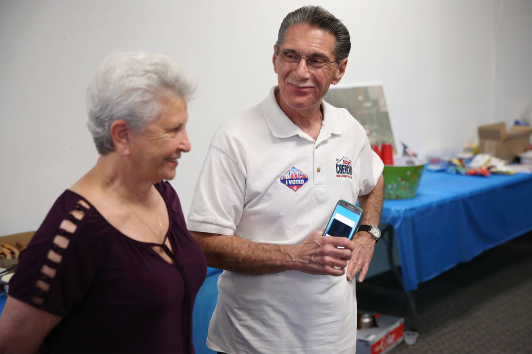 North Las Vegas Ward 4 incumbent councilman Richard Cherchio, right, with his wife Gloria, shar ...