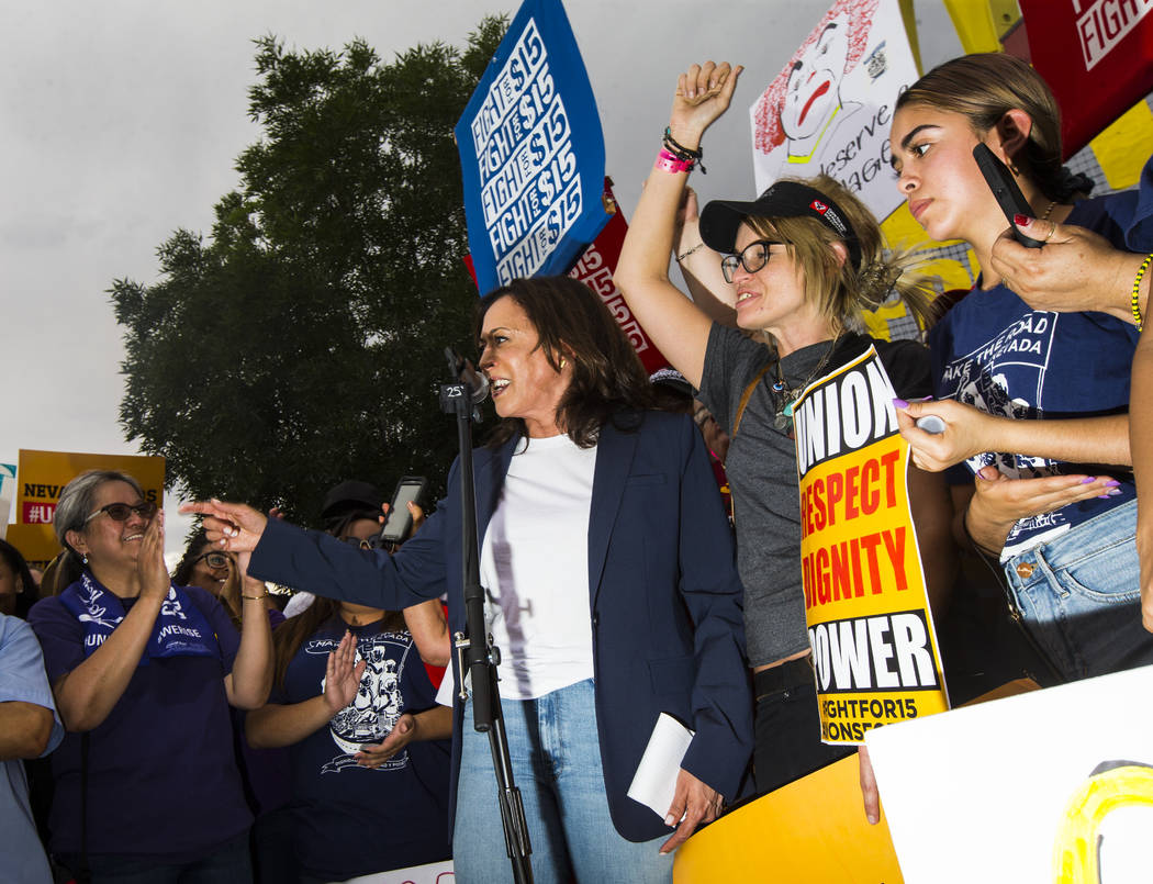 U.S. Sen. Kamala Harris, D-Calif., a Democratic presidential hopeful, addresses workers on stri ...