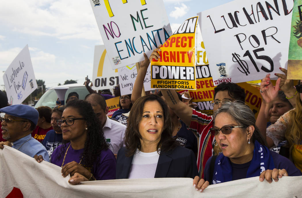U.S. Sen. Kamala Harris, D-Calif., a Democratic presidential hopeful, joins workers on strike i ...