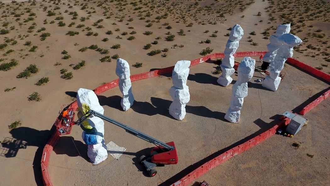 Swiss artist Ugo Rondinone's Seven Magic Mountains art installation known for it' ...