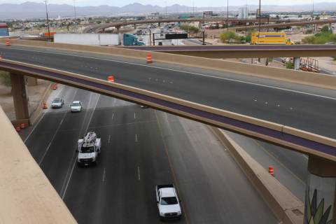 The Spaghetti Bowl as seen from the newly completed Project Neon HOV flyover ramp on Thursday, ...