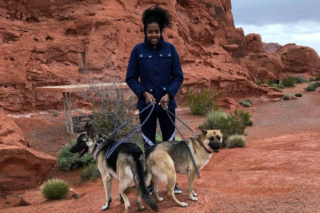 Ines Diaz takes a photo with her two German shepherds, Tyger and Aria. (GoFundMe)