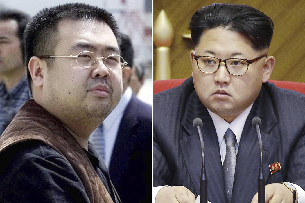 FILE - This combination of file photos shows Kim Jong Nam, left, exiled half-brother of North K ...