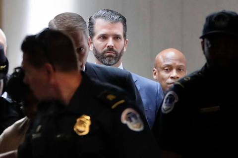 Donald Trump Jr., the son of President Donald Trump, arrives to meet privately with members of ...