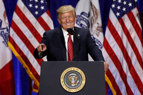 President Donald Trump speaks during the Republican Party of Iowa's America First Dinner, Tuesd ...