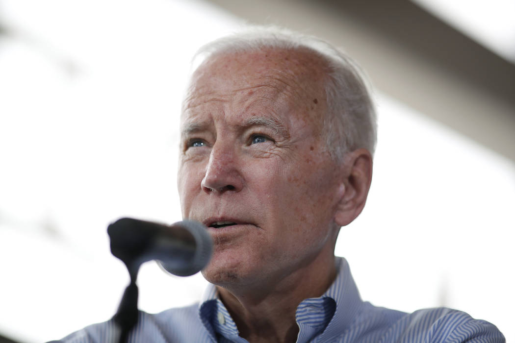 Democratic presidential candidate former Vice President Joe Biden speaks during a town hall mee ...