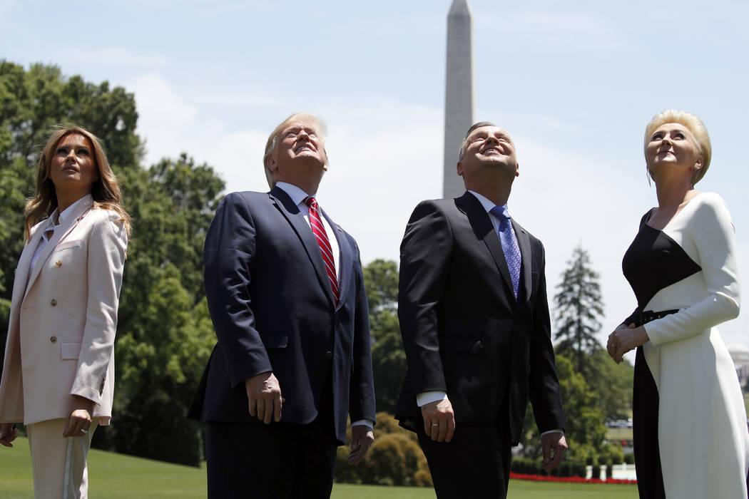 President Donald Trump, first lady Melania Trump, Polish President Andrzej Duda, and his wife A ...