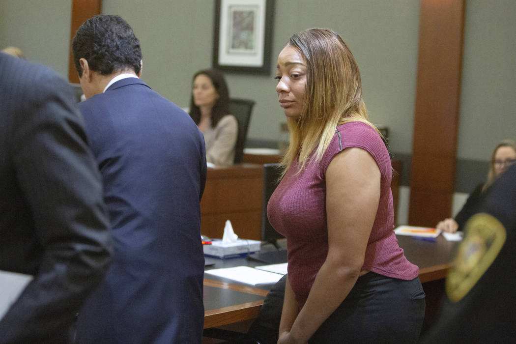 Cadesha Bishop, 25, accused of shoving a 74-year-old man off a bus, appears in court during a p ...