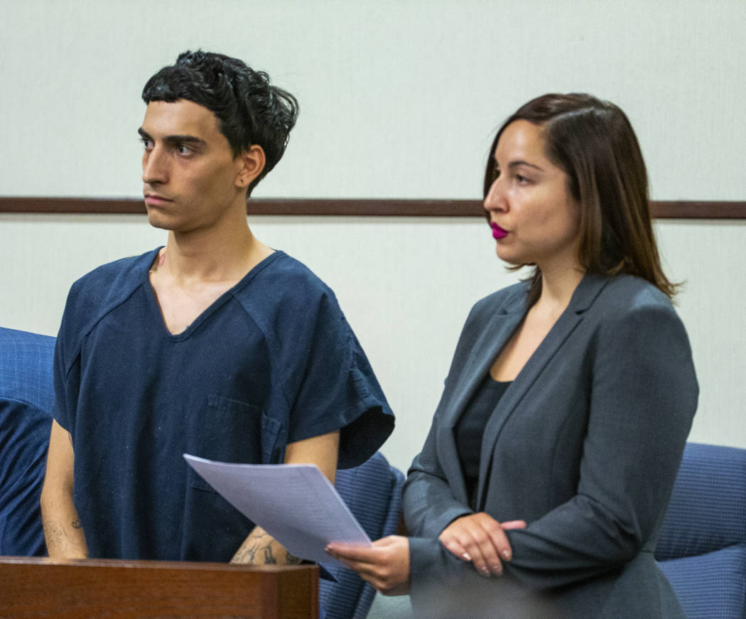 Defendant Joseph DeFrancisco stands before the judge with his lawyer Monica Trujillo while appe ...
