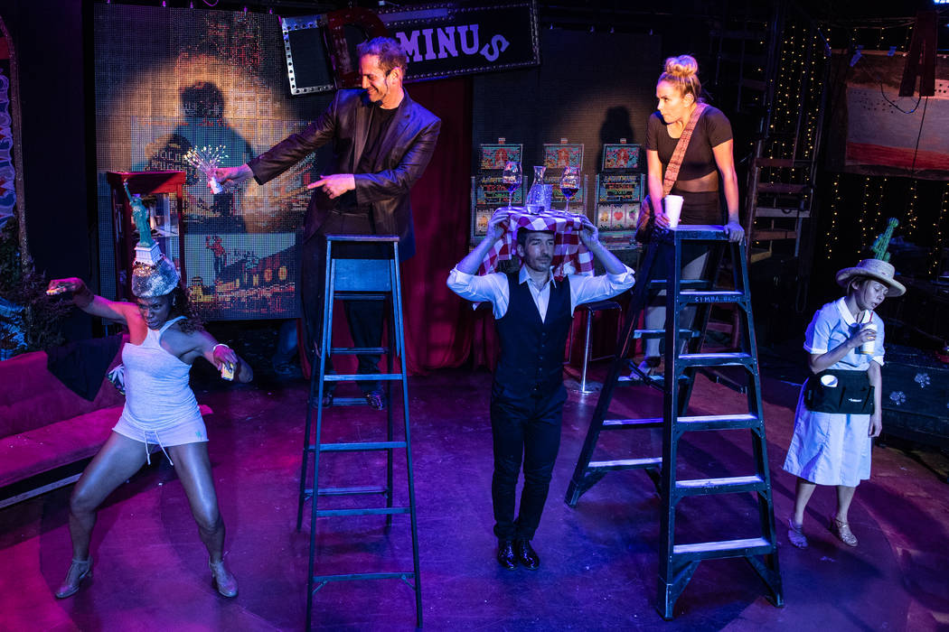 """Savanna Smith and Toby Allen are shown with the ensemble in """"Satango,"""" an original musical perf ..."""