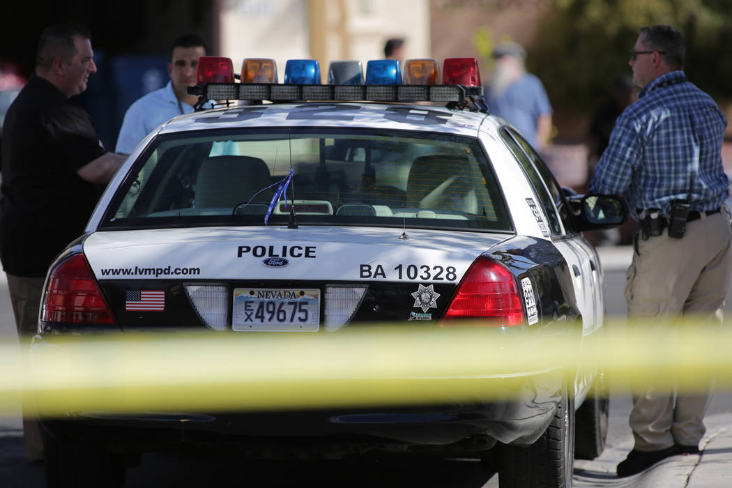 Las Vegas police investigate a home invasion homicide on the 6400 block of Morley Avenue on May ...