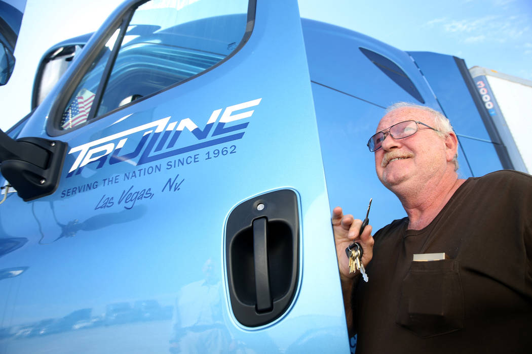 Tony Serpe, a driver trainer with Truline Corporation, prepares to move his rig at his trucking ...