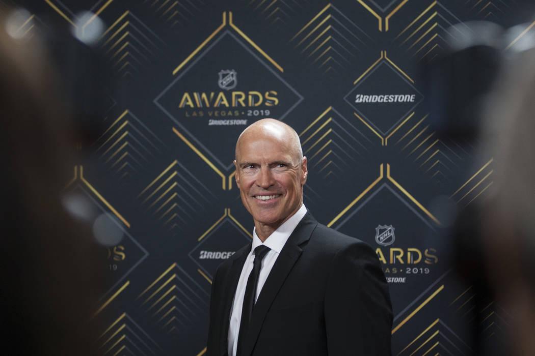 NHL legend Mark Messier walks the red carpet before the start of the NHL Awards on Wednesday, J ...