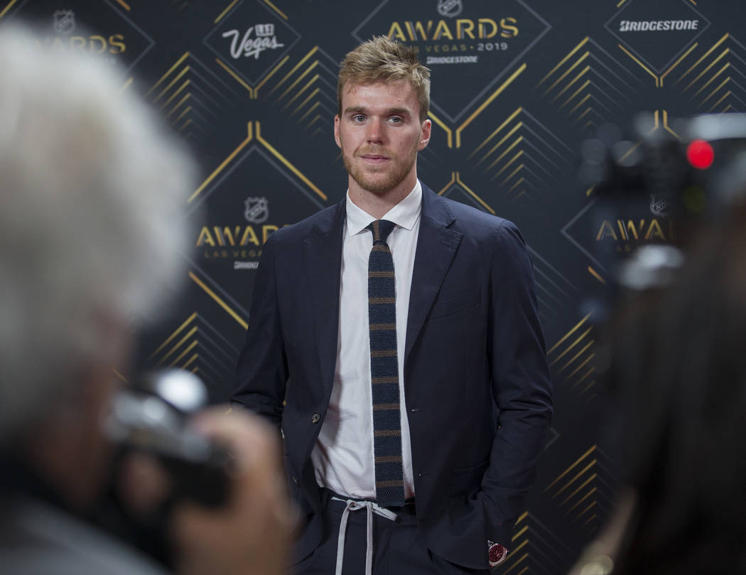 Edmonton Oilers center Connor McDavid walks the red carpet before the start of the NHL Awards o ...