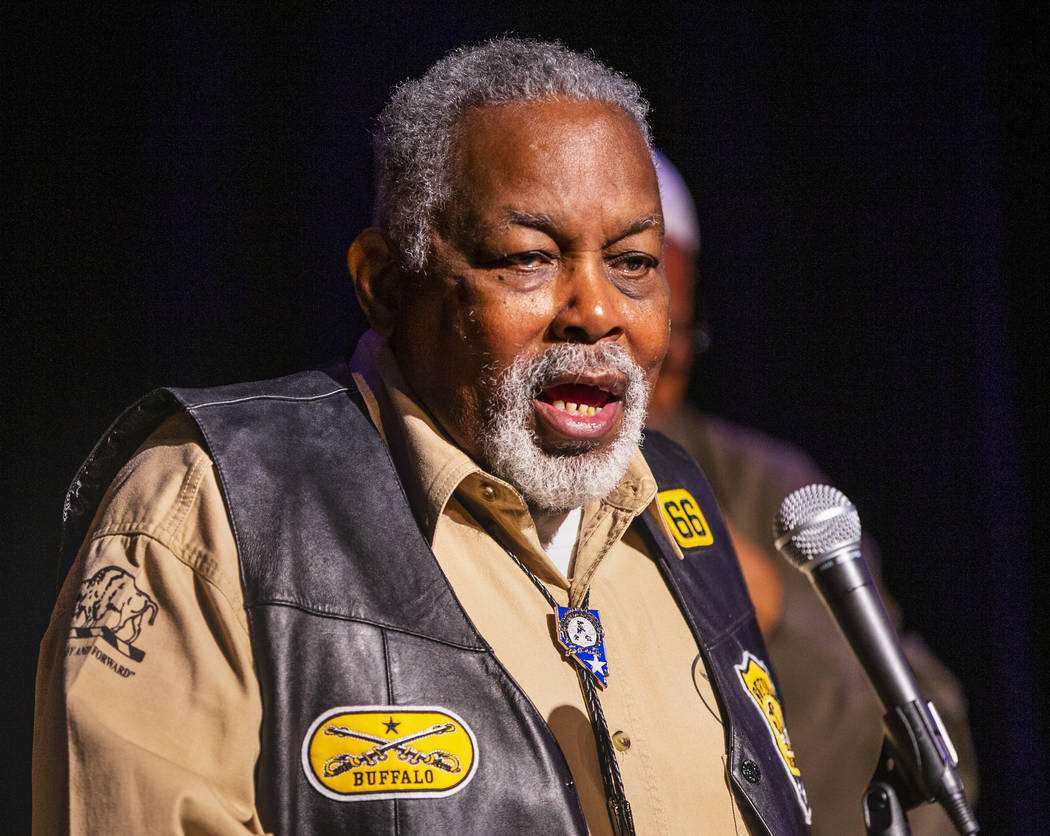 Jon Jon with the Southern Nevada chapter of the Las Vegas Buffalo Soldiers speaks about his org ...