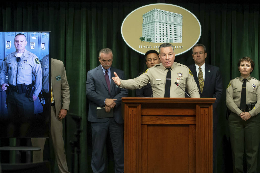 Los Angeles County Sheriff Alex Villanueva speaks during a news conference in Los Angeles on Tu ...