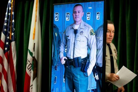 Los Angeles County Sheriff Alex Villanueva arrives to a news conference in Los Angeles on Tuesd ...
