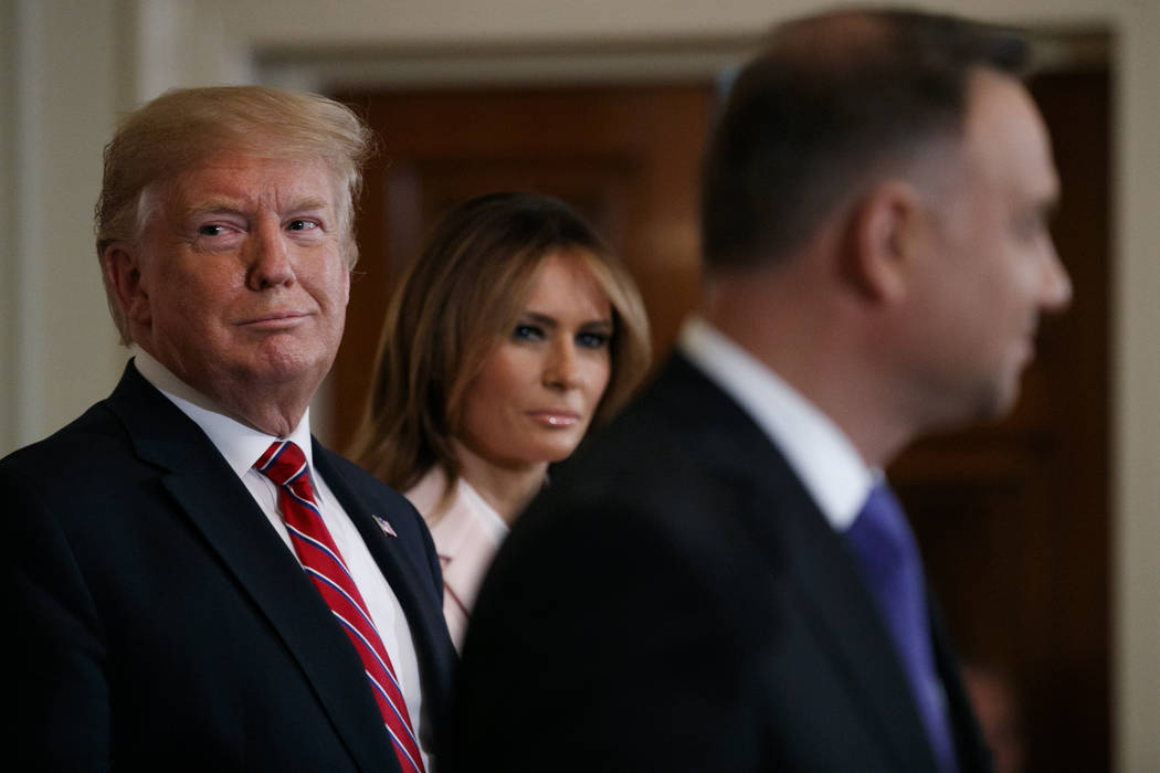 President Donald Trump and first lady Melania Trump attend a Polish-American reception with Pol ...