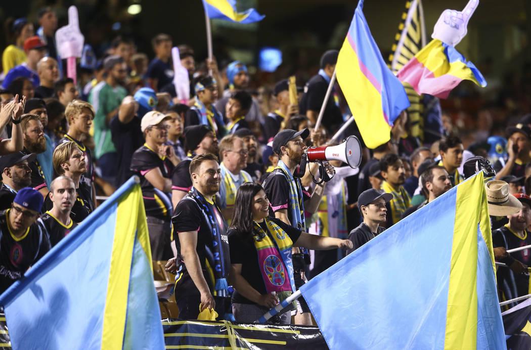 Chase Stevens/Las Vegas Review-Journal Las Vegas Lights FC fans cheer during a United Soccer Le ...