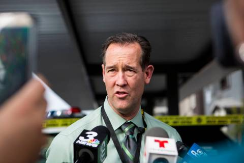 Las Vegas police homicide Capt. Jason Letkiewicz answers questions from the media during a brie ...