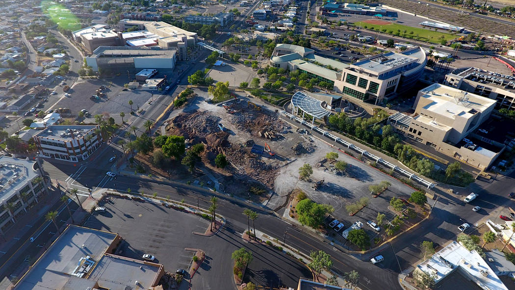 Aerial view of site of the new $25 million Henderson Community Ice Hockey Facility at the corne ...
