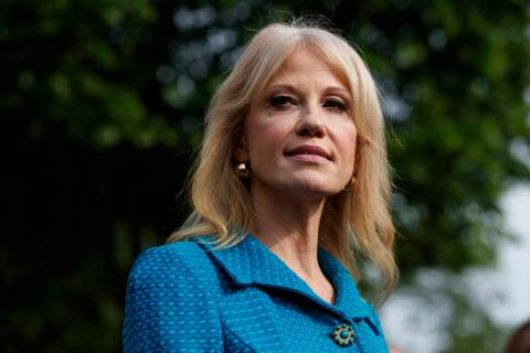 In this April 30, 2019 photo, White House counselor Kellyanne Conway talks with reporters outsi ...