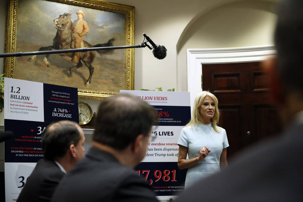 Counselor to the President Kellyanne Conway, speaks during a briefing on efforts to combat the ...