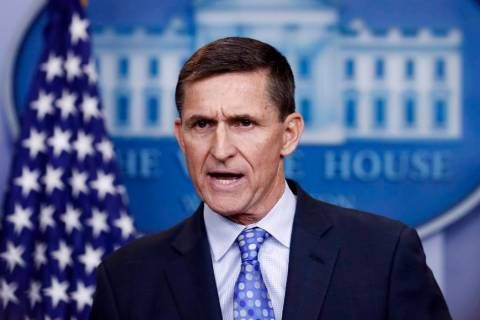 FILE - In this Feb. 1, 2017 file photo, National Security Adviser Michael Flynn speaks during t ...