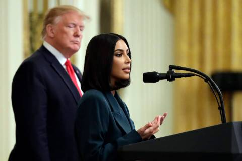 President Donald Trump listens to Kim Kardashian West, who is among the celebrities who have ad ...