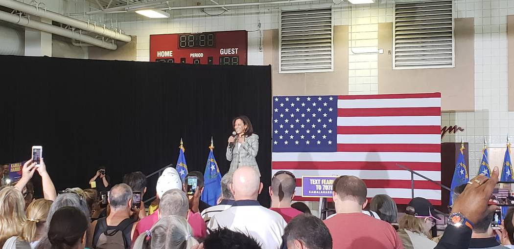 Sen. Kamala Harris, a 2020 presidential candidate, speaks at a Doolittle Community Center rally ...