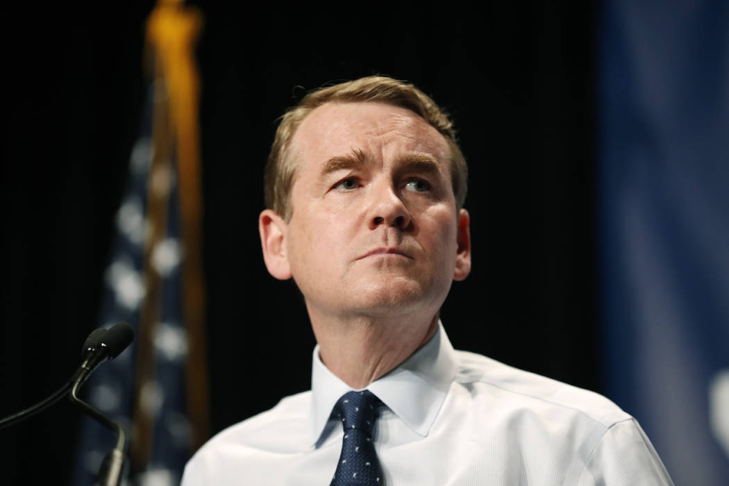 Democratic presidential candidate Michael Bennet speaks during the Iowa Democratic Party's Hall ...