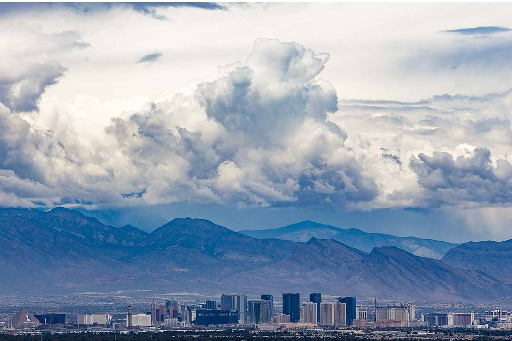 A view from Henderson of the Strip with cloud cover, Wednesday, May 22, 2019. There is a 30 per ...