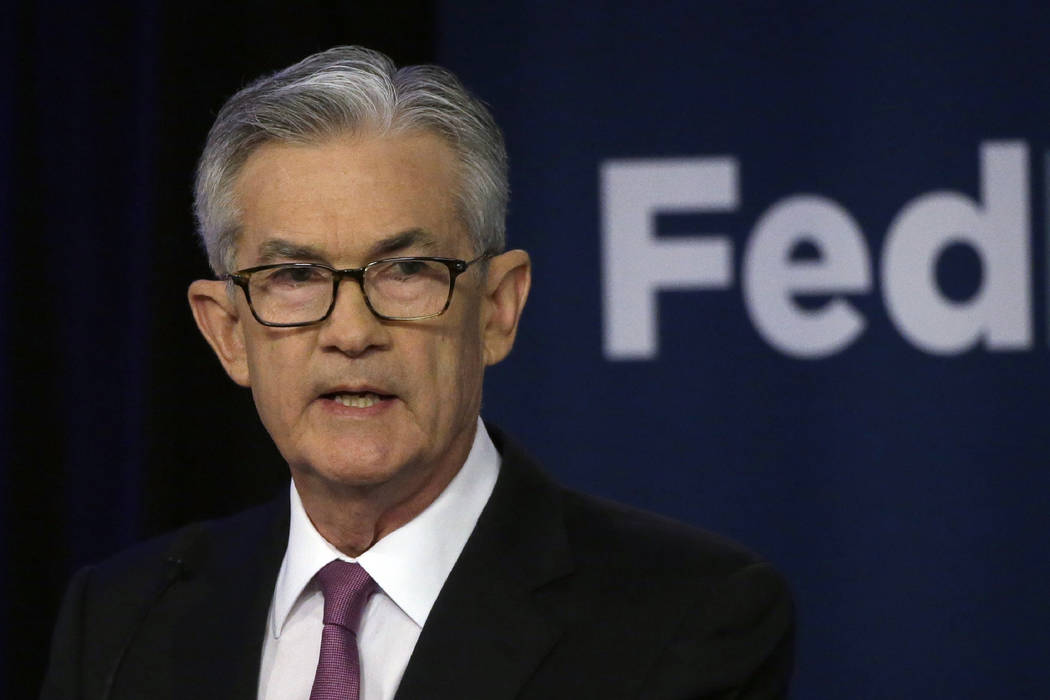 In a June 4, 2019, file photo Federal Reserve Chairman Jerome Powell speaks at a conference inv ...