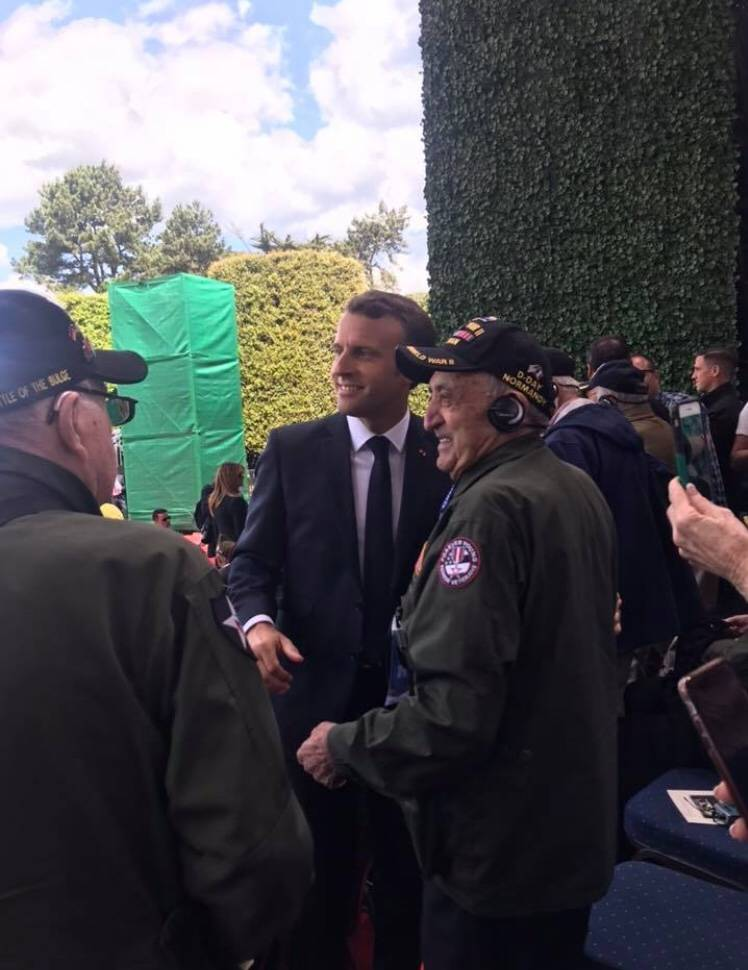 "World War II Army veteran Onofrio ""No-No"" Zicari, 96, poses for a photo with French President E ..."