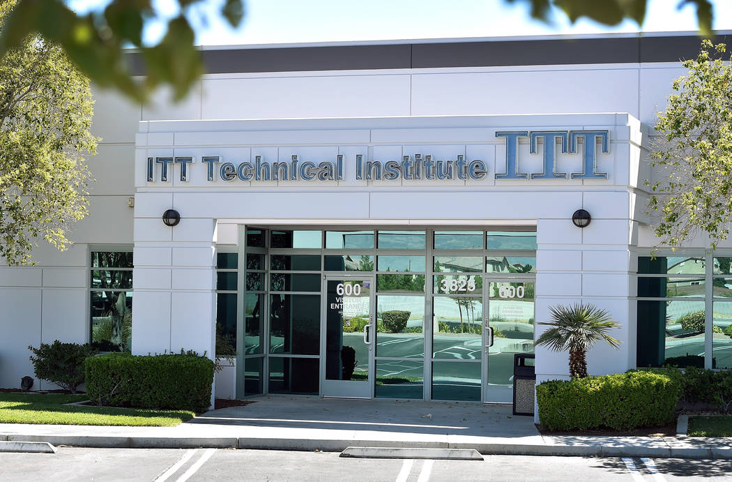 The front entrance to the ITT Technical Institute is seen Tuesday, Sept. 6, 2016, in North Las ...