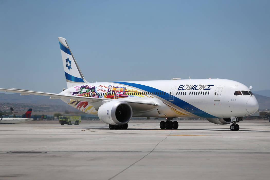An El Al Israel Airlines flight makes their first flight landing from Tel Aviv, Israel to McCar ...