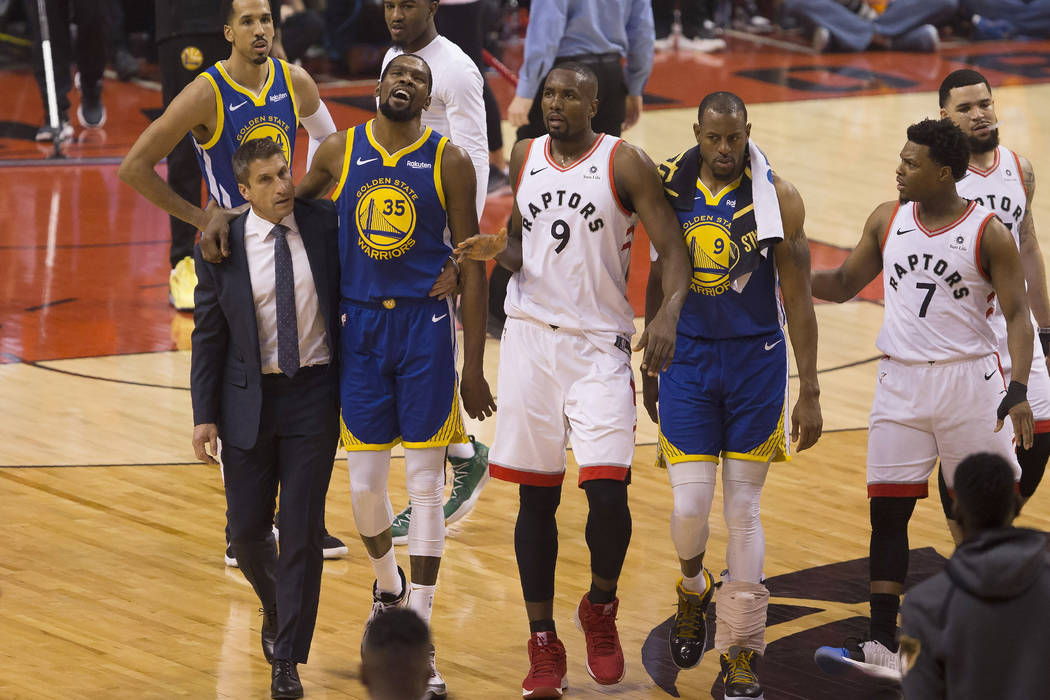 FILE - In this Monday, June 10, 2019 file photo, Golden State Warriors forward Kevin Durant (35 ...
