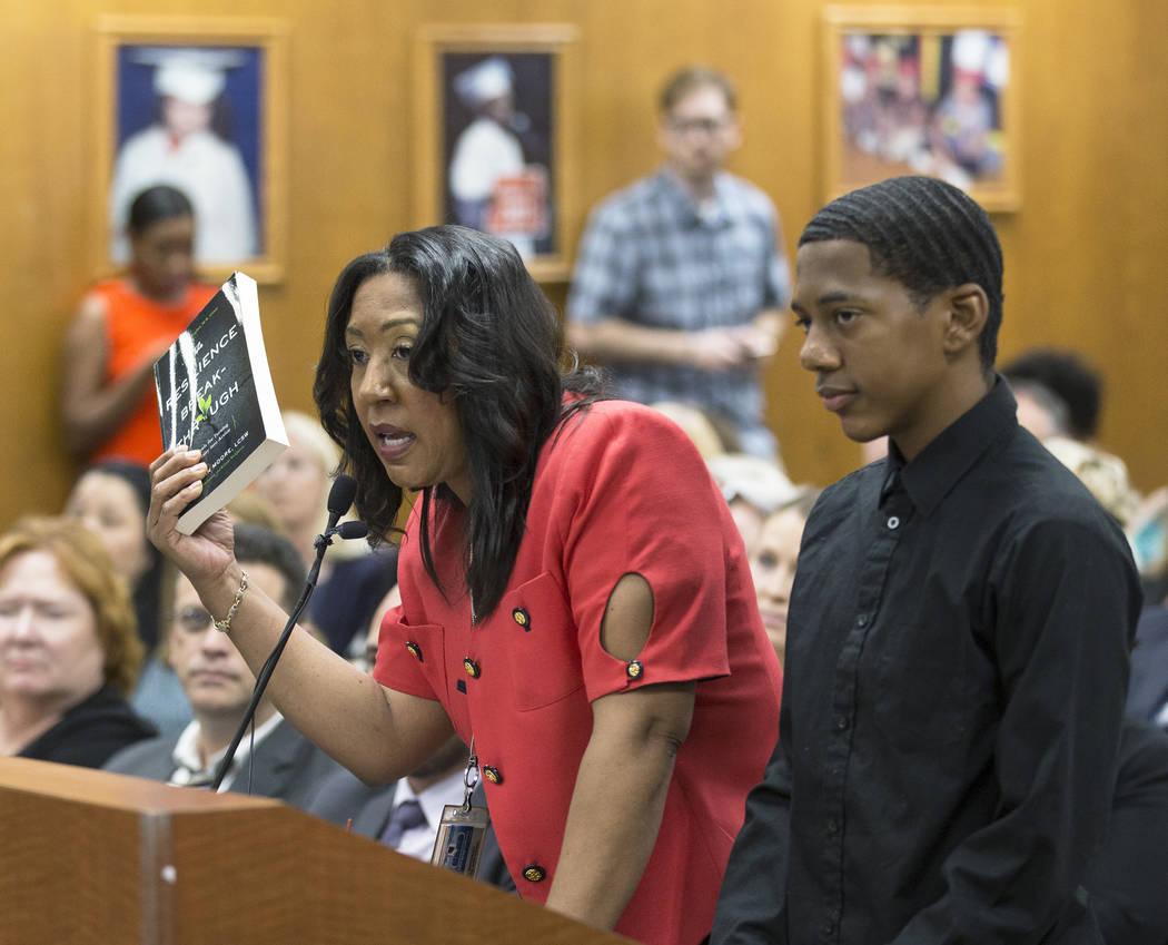 Cristal Boisseau, left, dean of students at Shadow Ridge High School, addresses the Clark Count ...