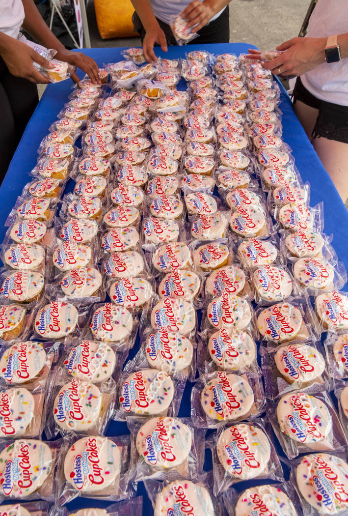 Hostess Birthday Cupcakes are spread onto a sampling table while on a stop at the Hoover Dam in ...