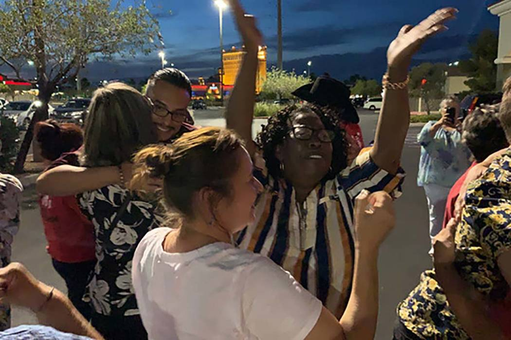Worker's at Sunset Station celebrate after voting to unionize on Thursday, June 13, 2019. (Culi ...