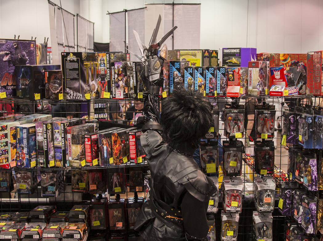 """Caleb Cook shops for memorabilia in an outfit inspired by """" Edward Scissorhands """" dur ..."""