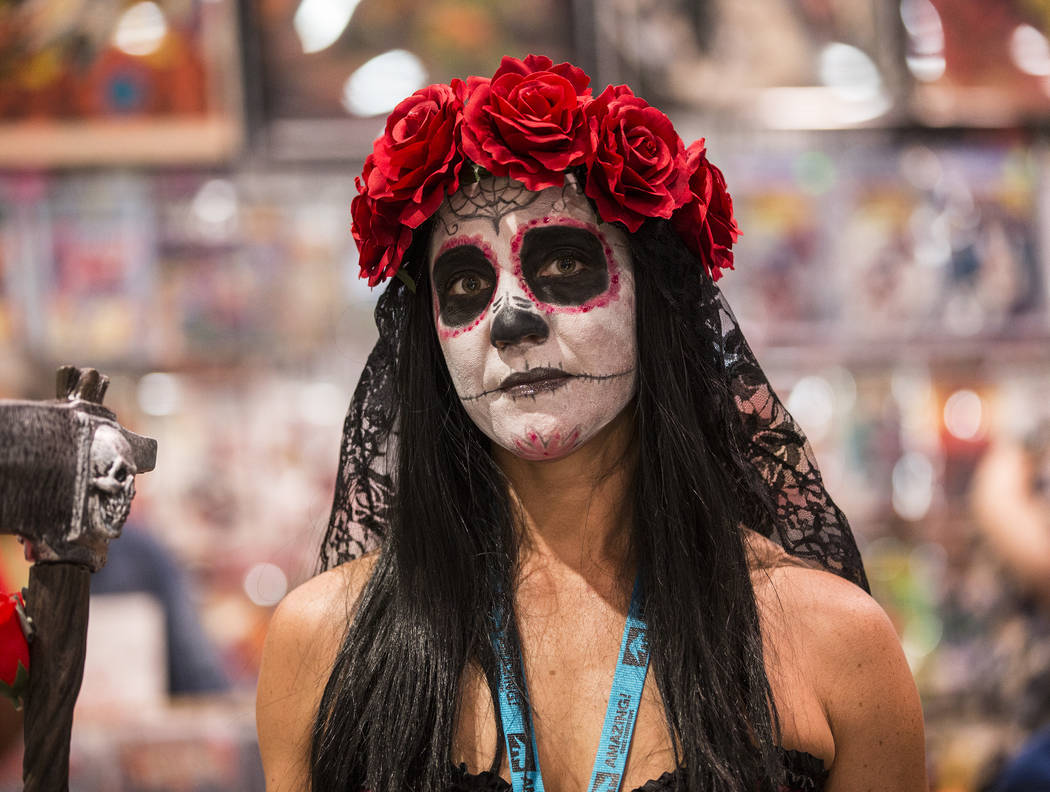 Maryann Garrison, dressed in a Santa Muerte-inspired outfit, at the Amazing Las Vegas Comic Con ...