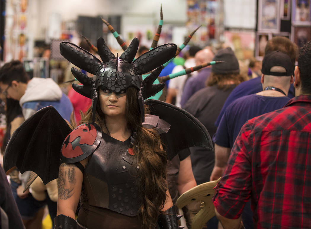Courtney Johnson, dressed as a character in ҈ow to Train Your Dragon,Ӡwalks the Nor ...